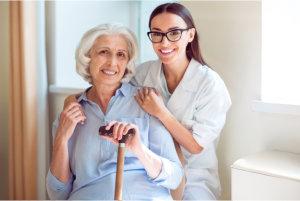 caregiver holding patients shoulder